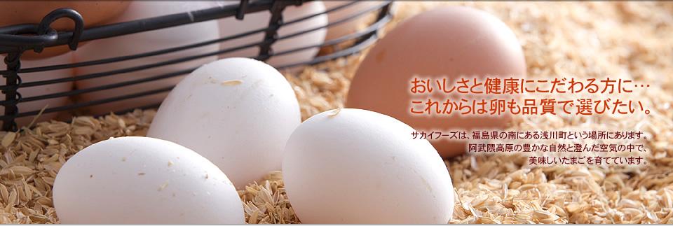 おいしさと健康にこだわる方に…これからは卵も品質で選びたい。サカイフーズは、福島県の南にある浅川町という場所にあります。阿武隈高原の豊かな自然と澄んだ空気の中で、美味しいたまごを育てています。